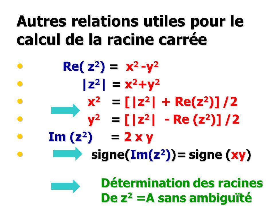 Autres relations utiles pour le calcul de la racine carrée