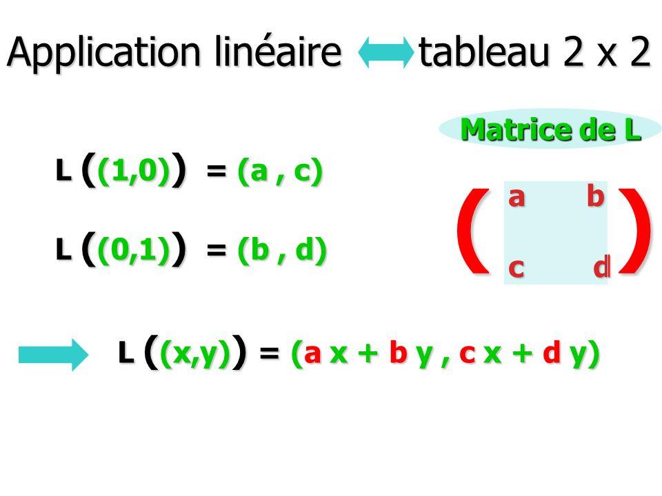 Application linéaire tableau 2 x 2