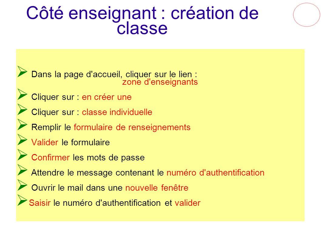 Côté enseignant : création de classe