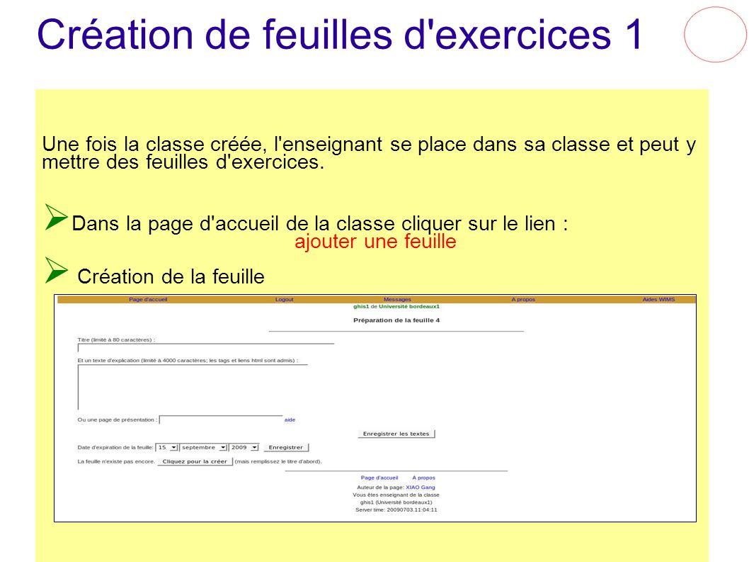 Création de feuilles d exercices 1