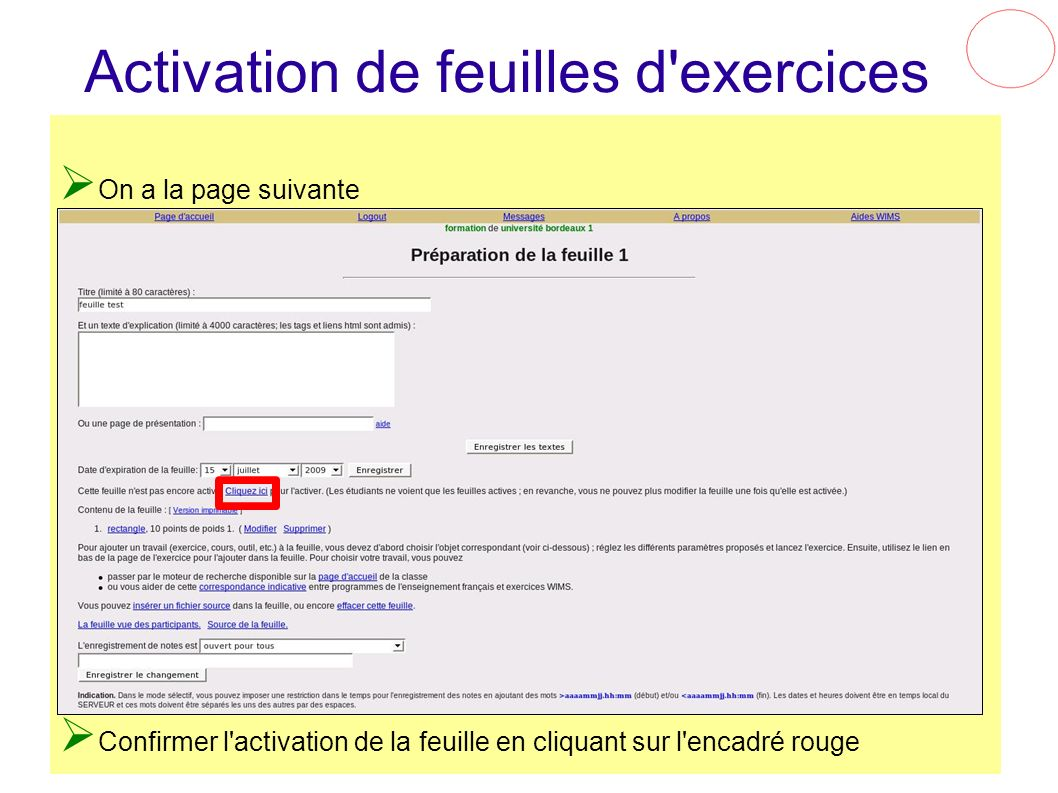 Activation de feuilles d exercices