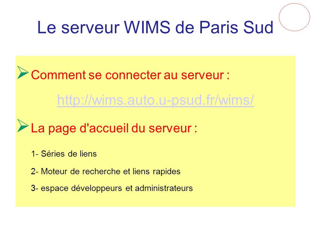 Le serveur WIMS de Paris Sud