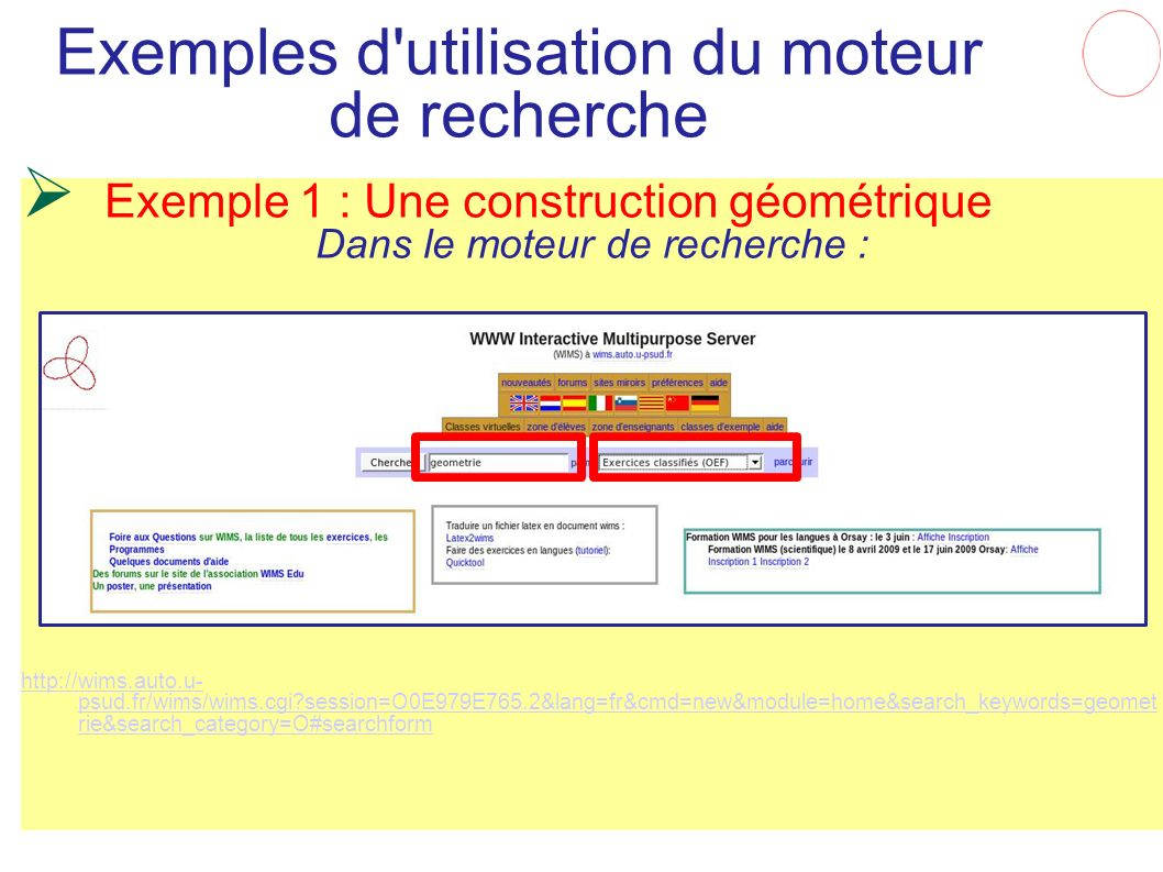 Exemples d utilisation du moteur de recherche