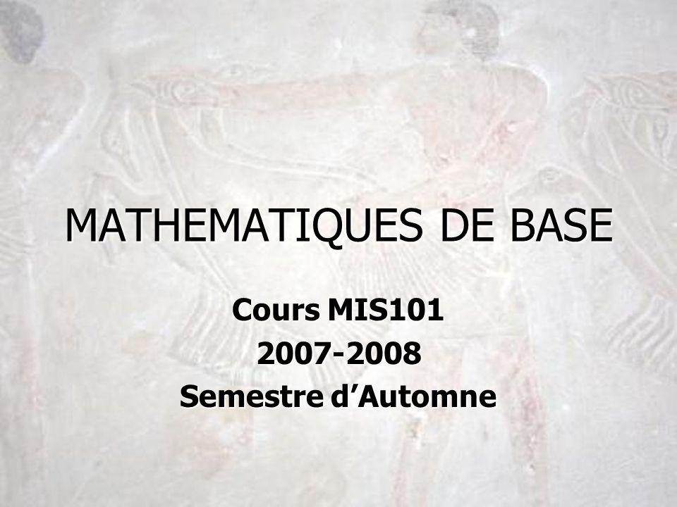 Cours MIS101 2007-2008 Semestre d'Automne