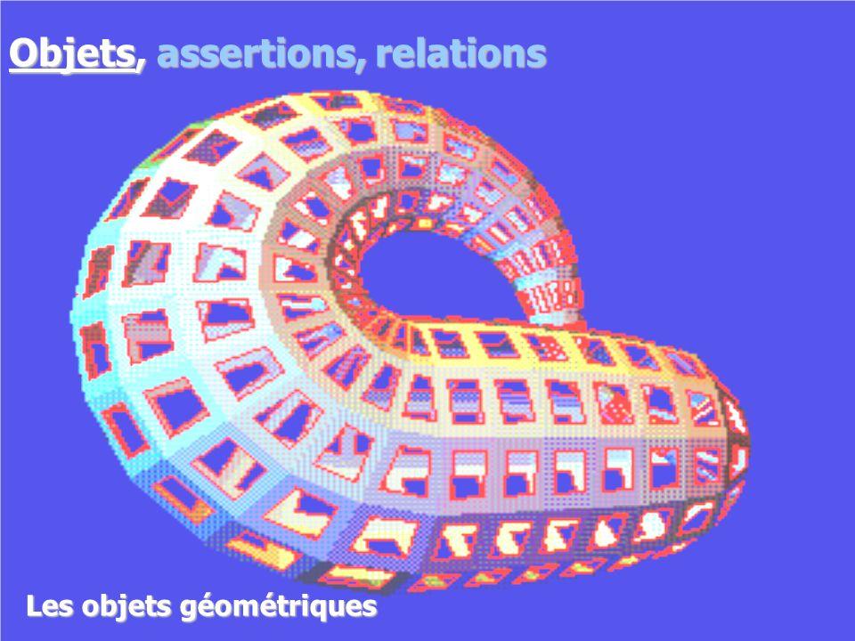 Objets géométriques Objets, assertions, relations
