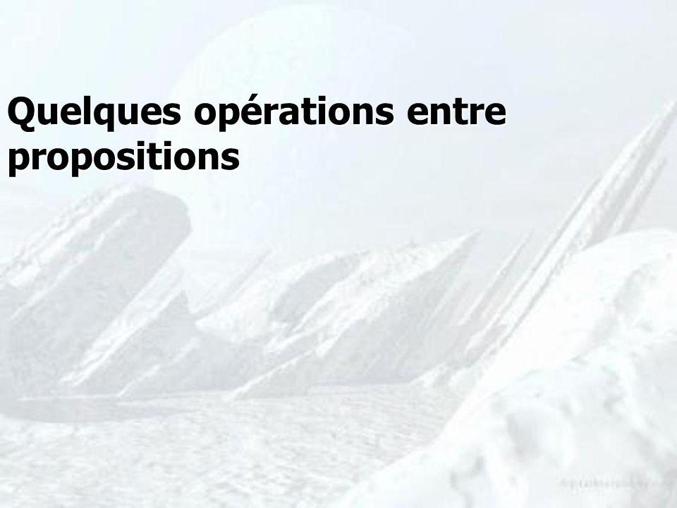 Quelques opérations entre propositions