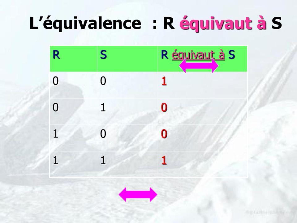L'équivalence : R équivaut à S