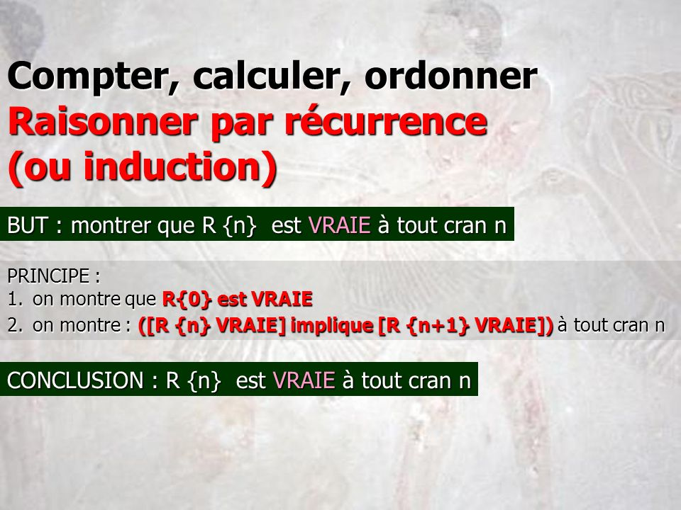 Compter, calculer, ordonner Raisonner par récurrence (ou induction)