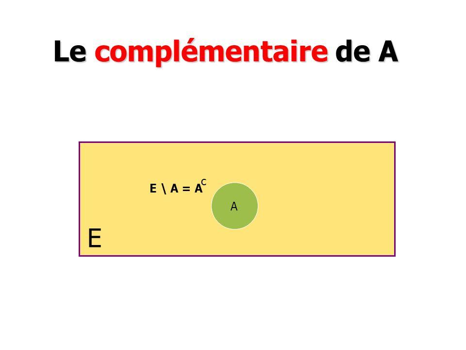 Le complémentaire de A c E \ A = A A E