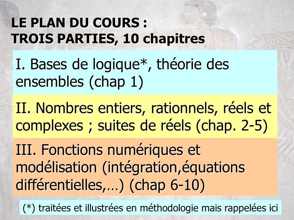 I. Bases de logique*, théorie des ensembles (chap 1)