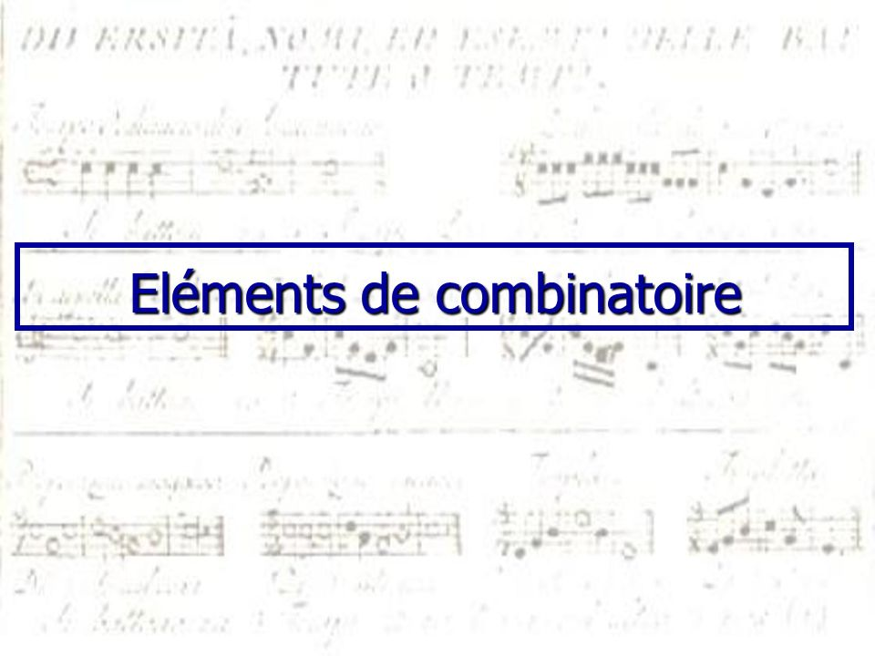 Eléments de combinatoire
