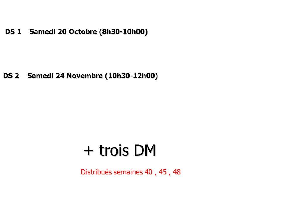 DS 1 Samedi 20 Octobre (8h30-10h00)