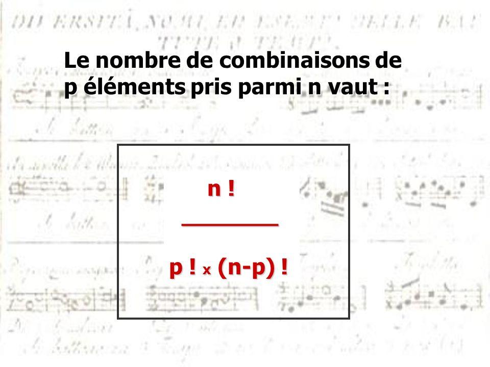 Le nombre de combinaisons de