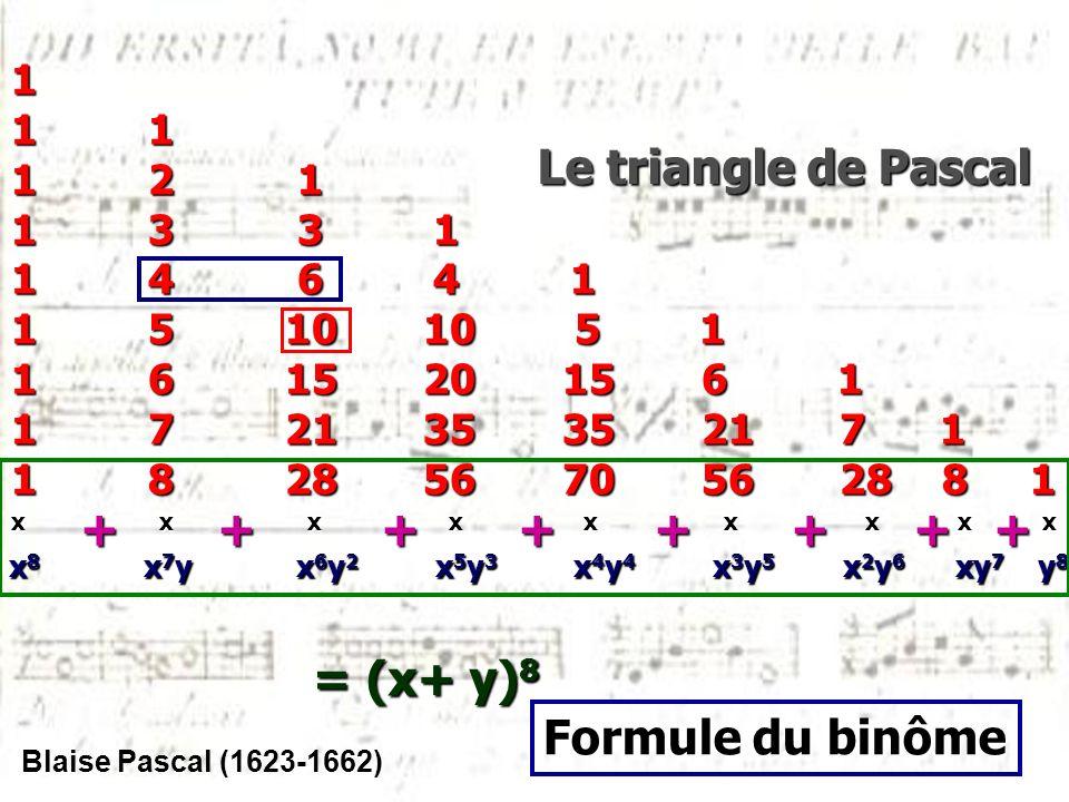 Le triangle de Pascal + + + + + + + + = (x+ y)8 Formule du binôme 1