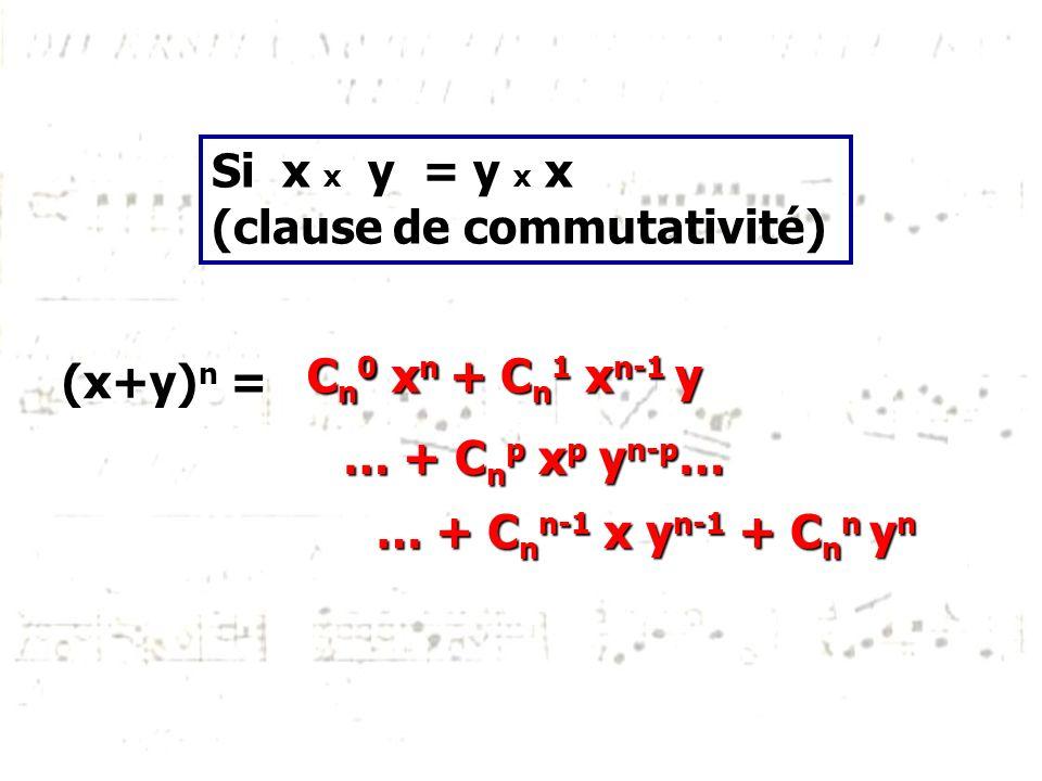 Si x x y = y x x (clause de commutativité) (x+y)n = Cn0 xn.