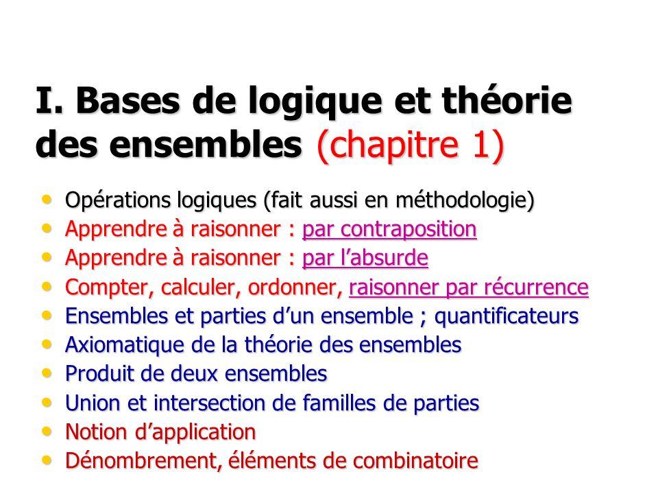 I. Bases de logique et théorie des ensembles (chapitre 1)