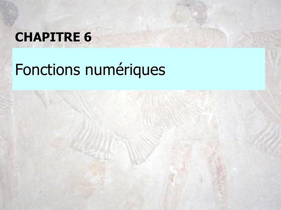 CHAPITRE 6 Fonctions numériques