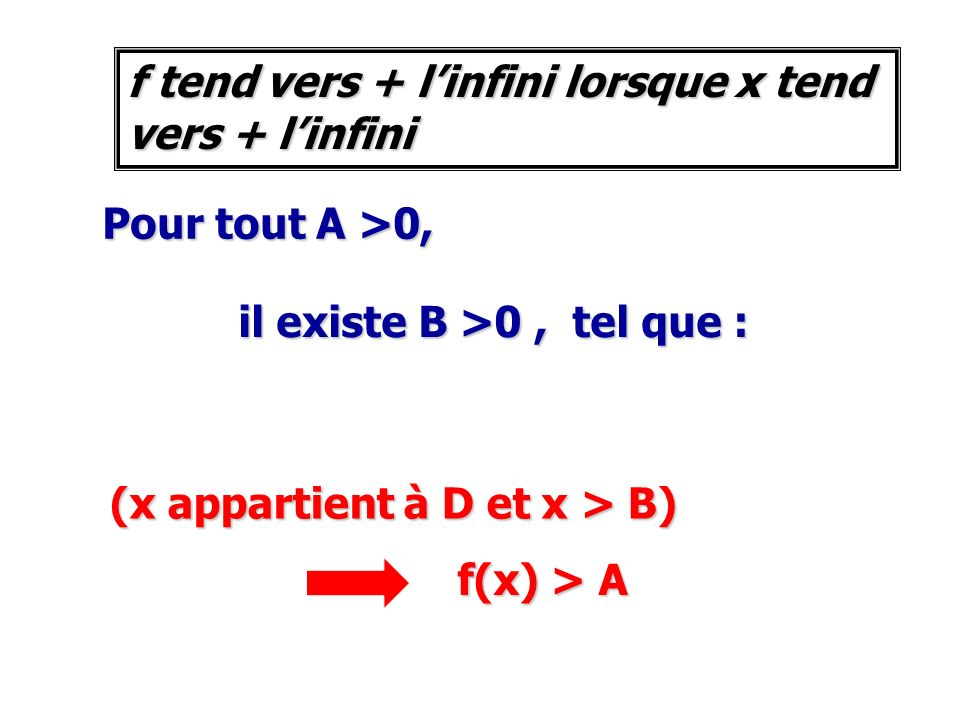 f tend vers + l'infini lorsque x tend