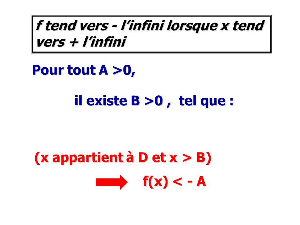 f tend vers - l'infini lorsque x tend