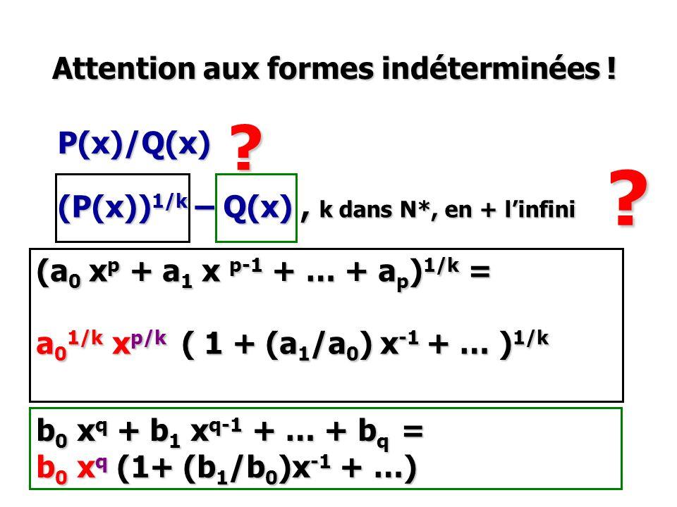 Attention aux formes indéterminées ! P(x)/Q(x)