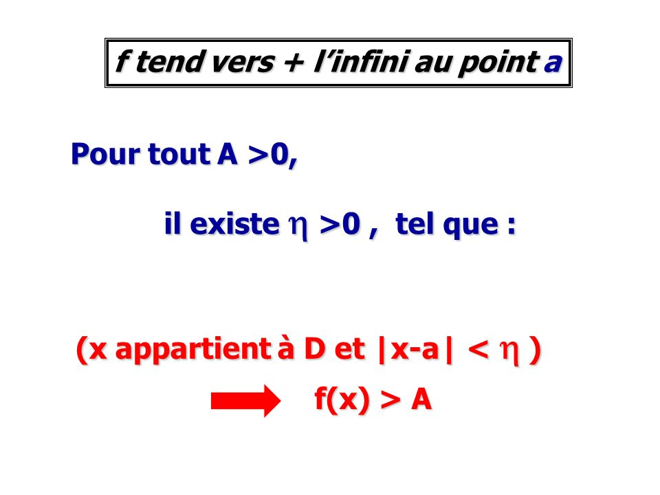 f tend vers + l'infini au point a