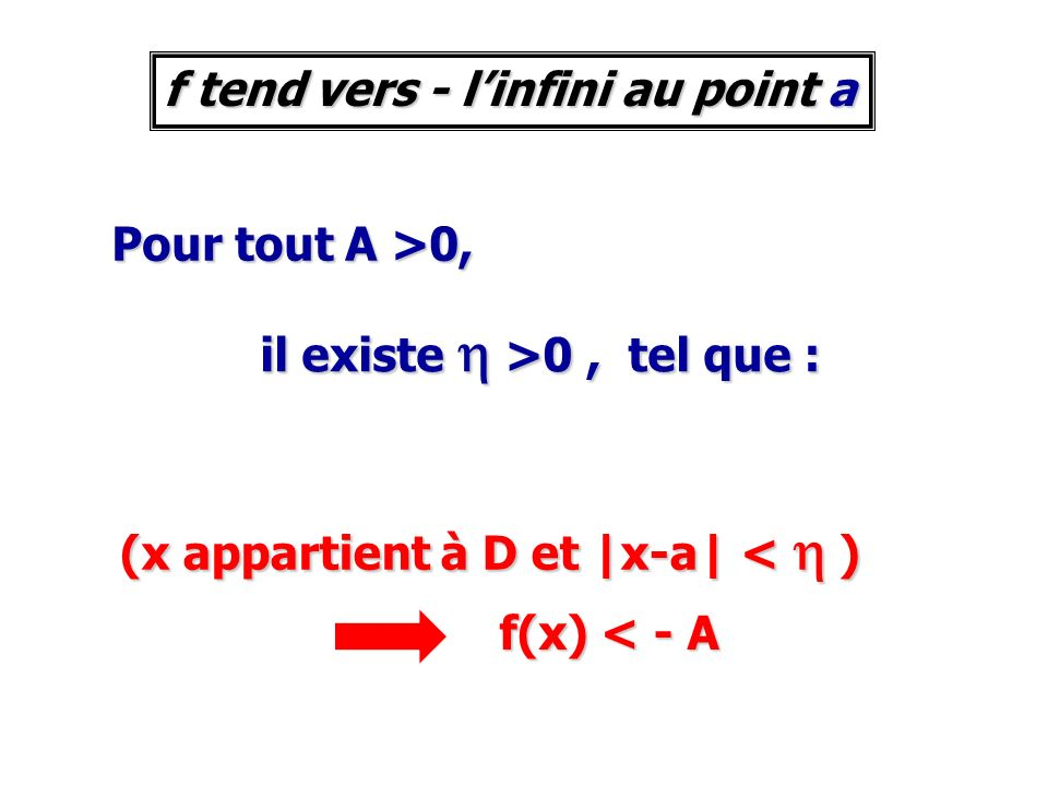 f tend vers - l'infini au point a