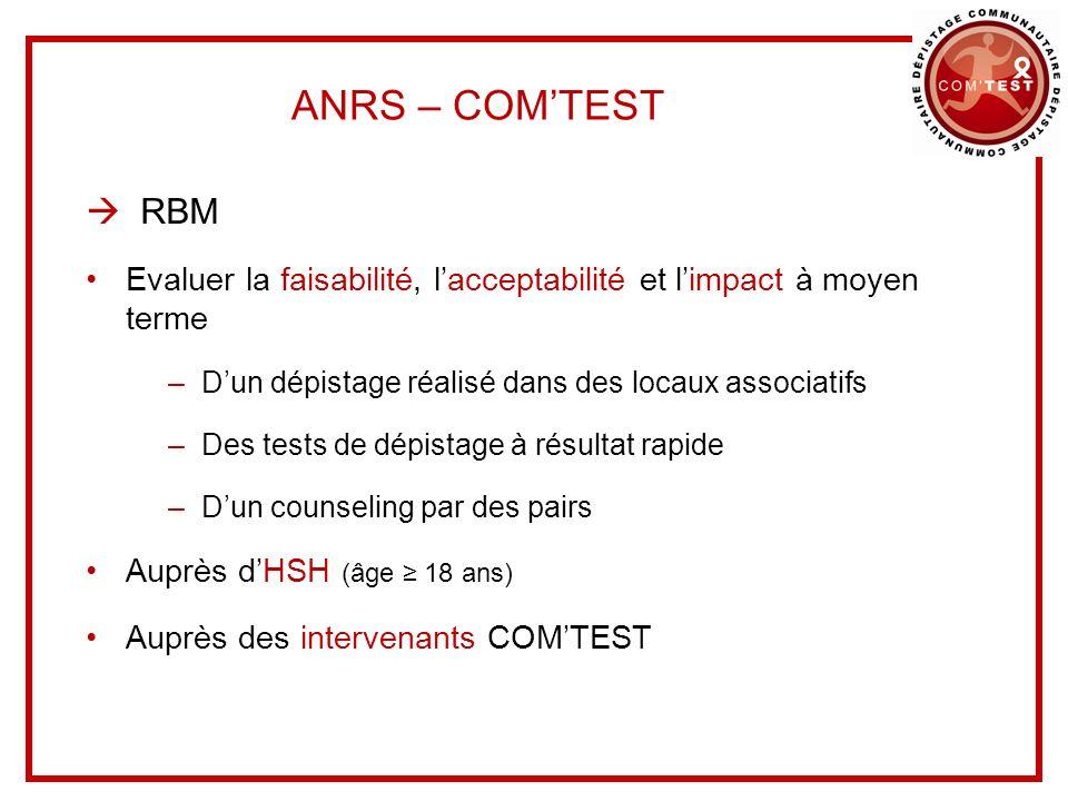 ANRS – COM'TEST  RBM. Evaluer la faisabilité, l'acceptabilité et l'impact à moyen terme. D'un dépistage réalisé dans des locaux associatifs.