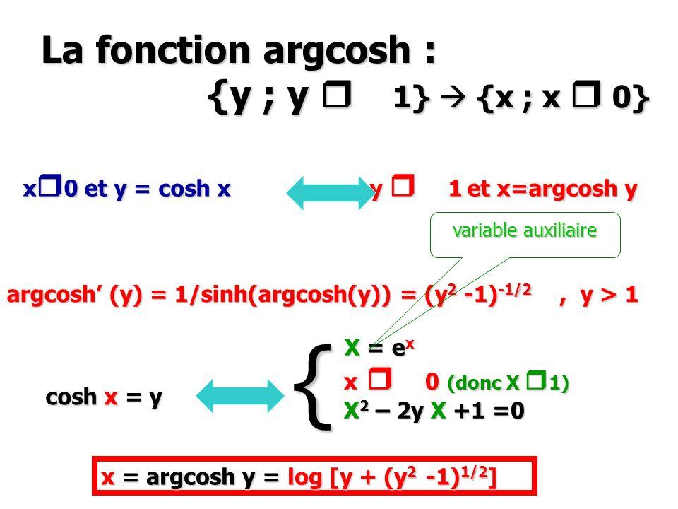 La fonction argcosh : {y ; y 1}  {x ; x  0}