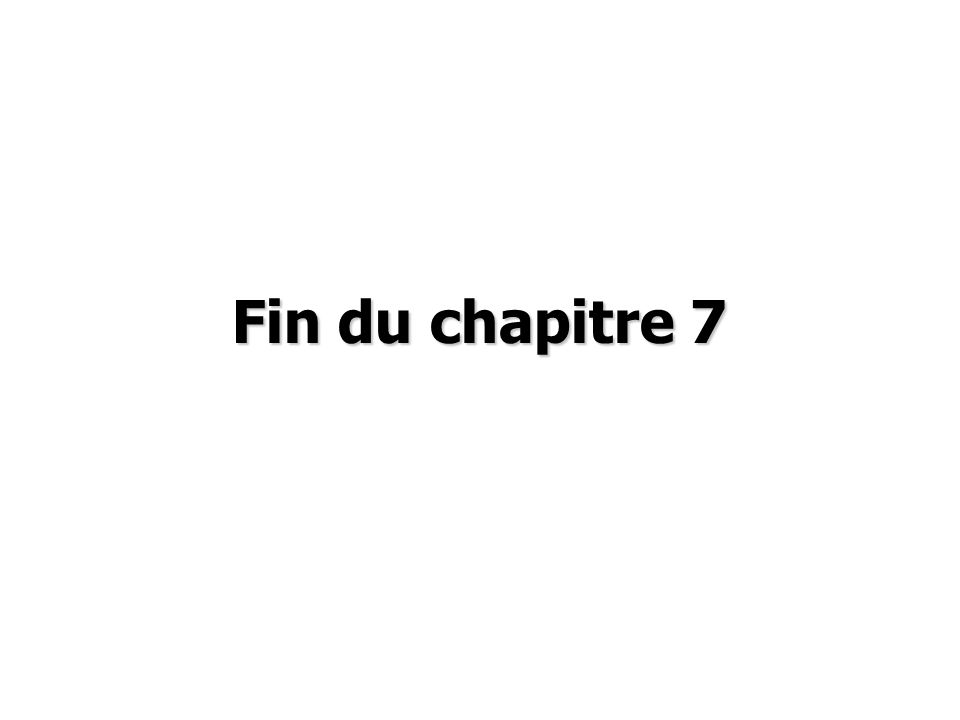 Fin du chapitre 7