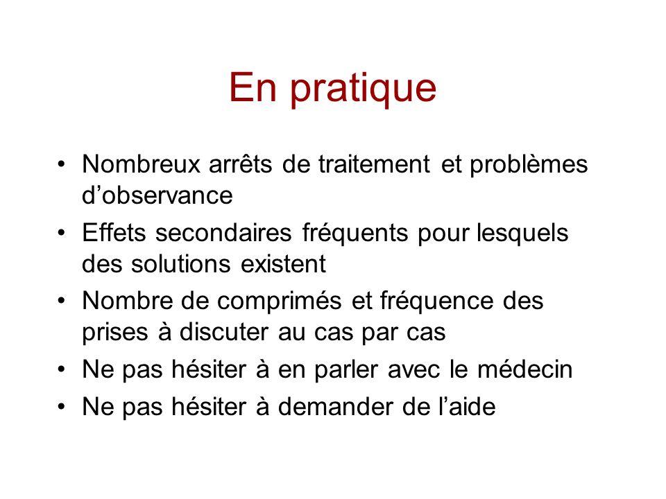 En pratique Nombreux arrêts de traitement et problèmes d'observance
