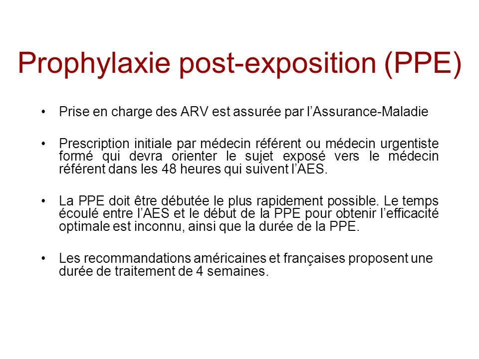Prophylaxie post-exposition (PPE)