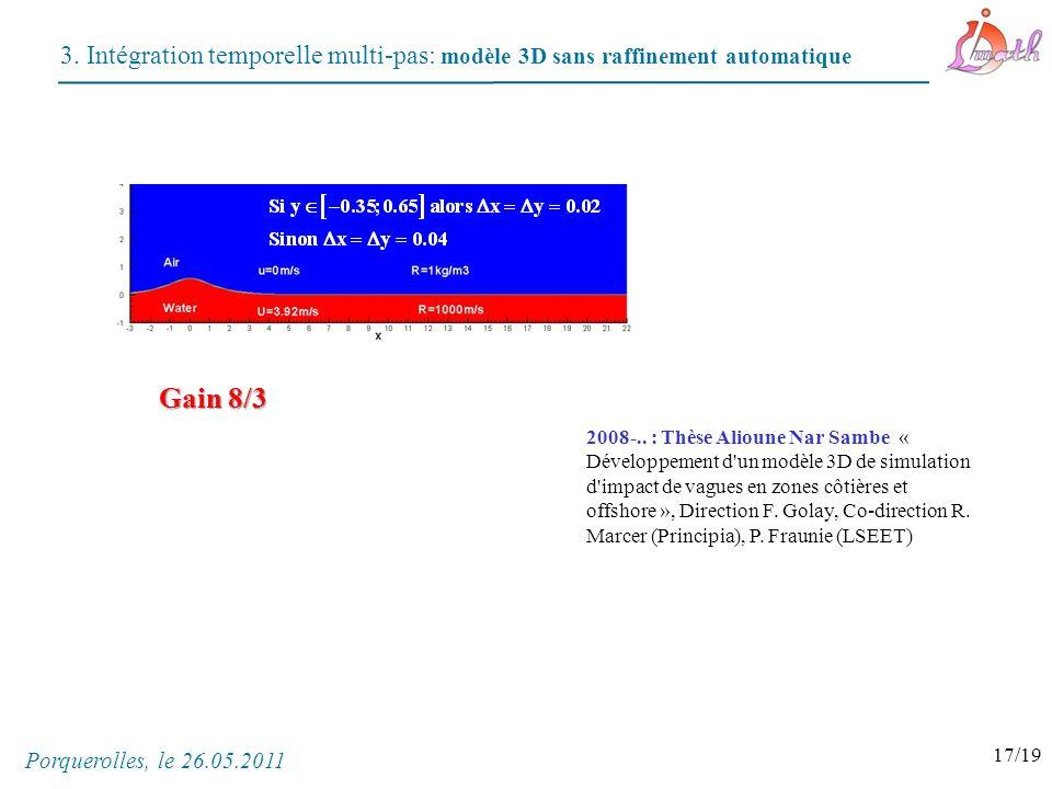 3. Intégration temporelle multi-pas: modèle 3D sans raffinement automatique