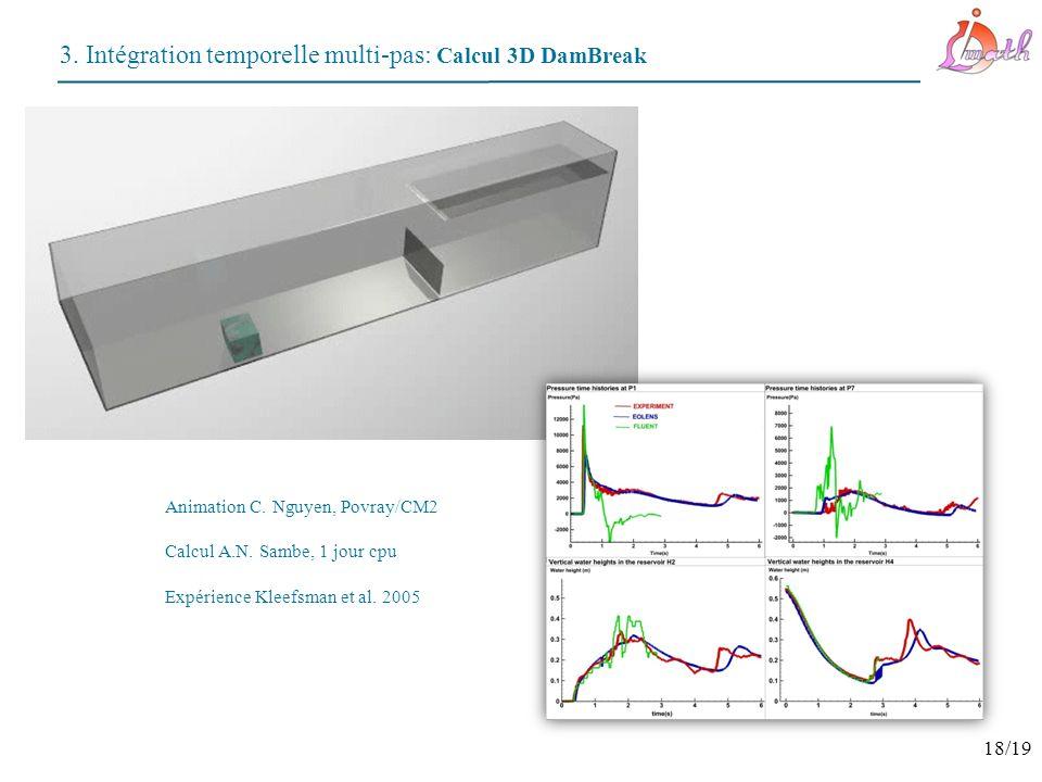 3. Intégration temporelle multi-pas: Calcul 3D DamBreak