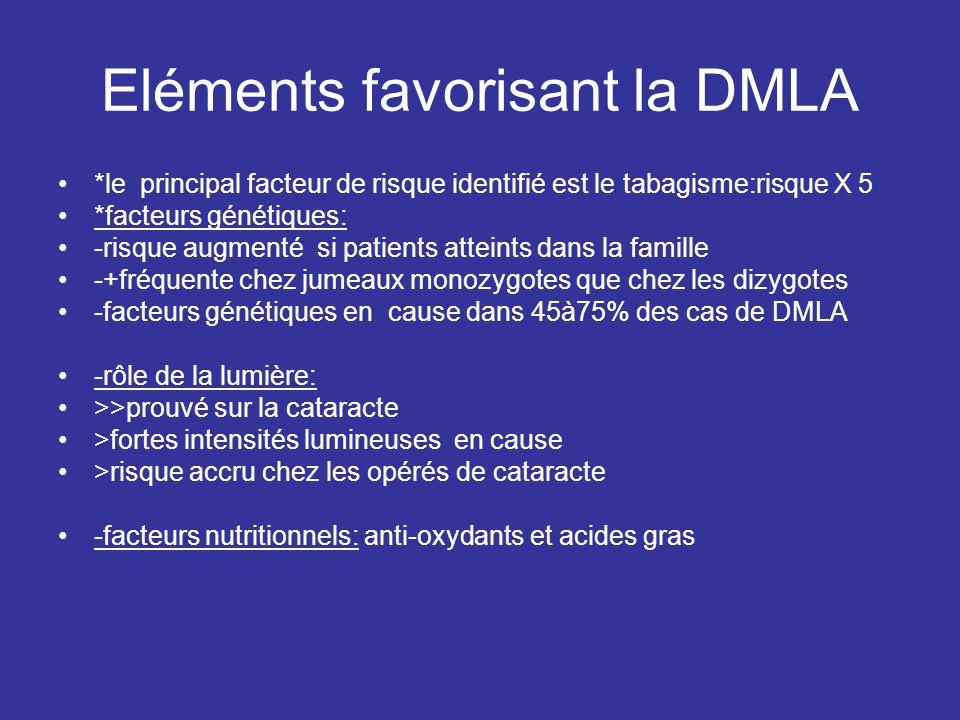 Eléments favorisant la DMLA
