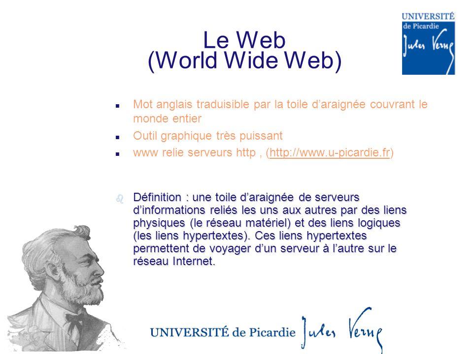 26/03/2017 Le Web (World Wide Web) Mot anglais traduisible par la toile d'araignée couvrant le monde entier.