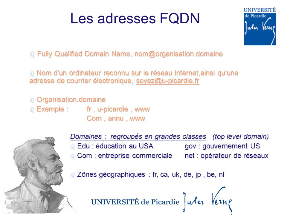 Les adresses FQDN Fully Qualified Domain Name, nom@organisation.domaine.