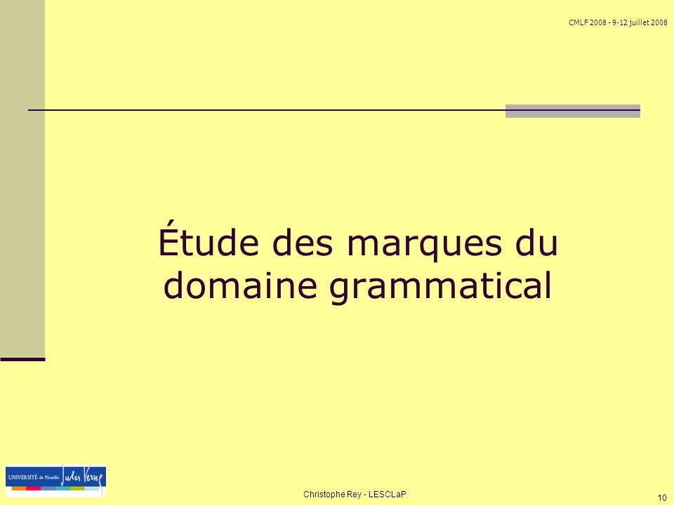 Étude des marques du domaine grammatical