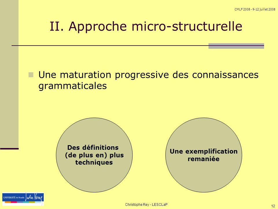 II. Approche micro-structurelle