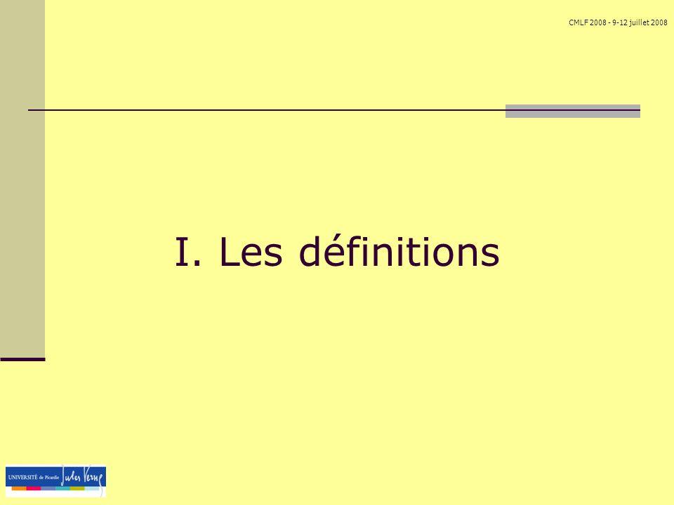 I. Les définitions