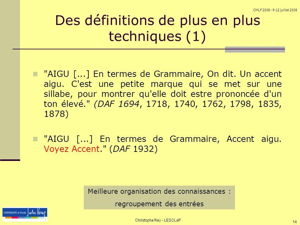 Des définitions de plus en plus techniques (1)