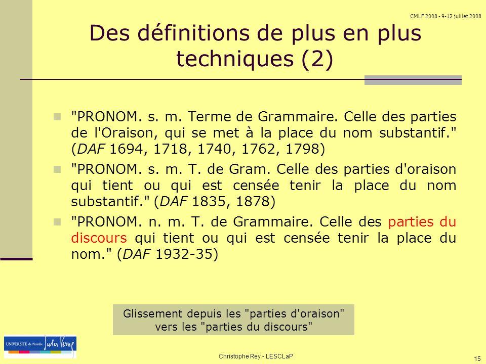 Des définitions de plus en plus techniques (2)