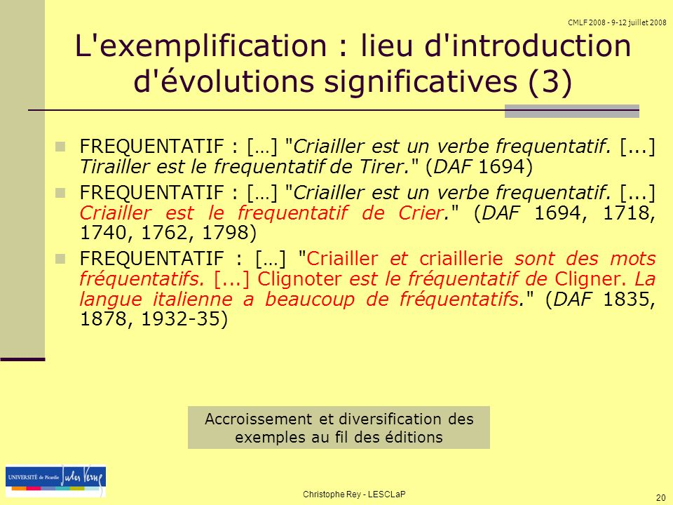 L exemplification : lieu d introduction d évolutions significatives (3)‏