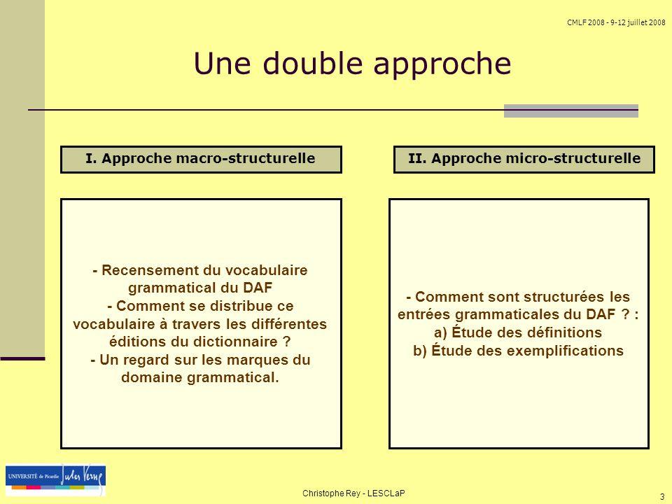 Une double approche - Recensement du vocabulaire grammatical du DAF
