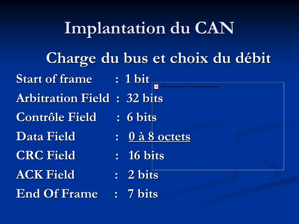 Implantation du CAN Start of frame : 1 bit Arbitration Field : 32 bits