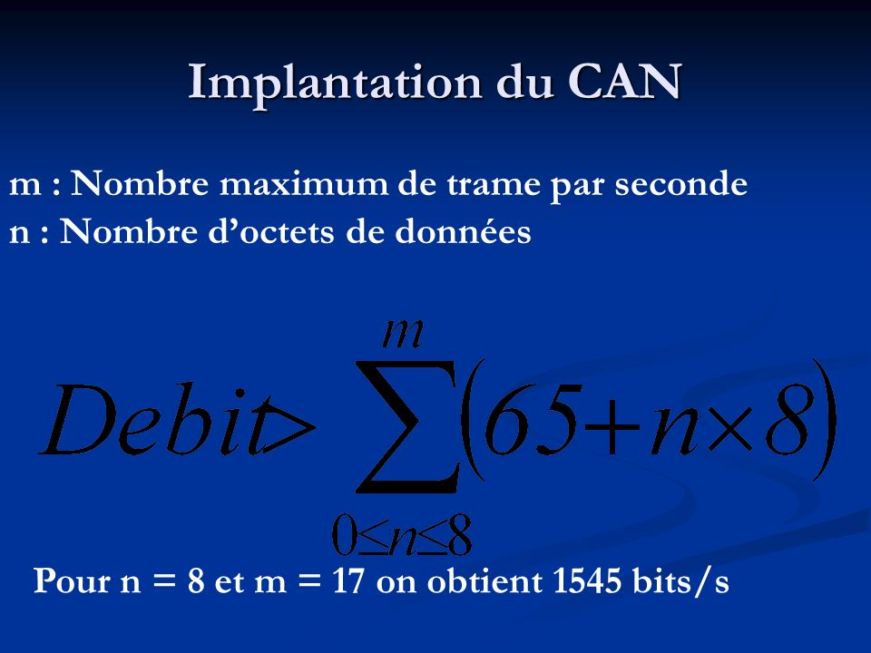 Implantation du CAN m : Nombre maximum de trame par seconde