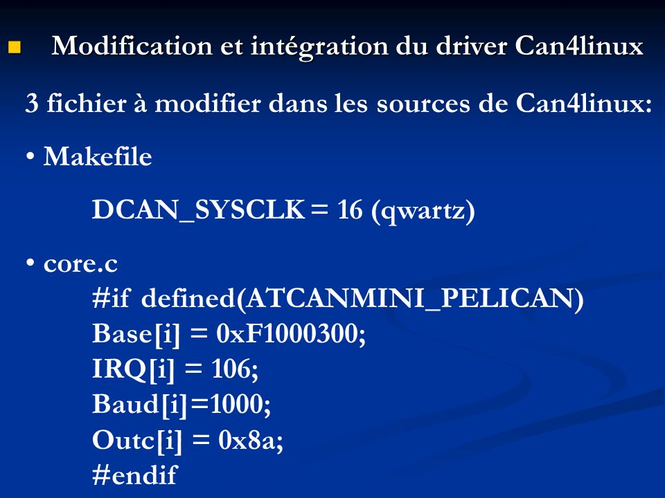 Modification et intégration du driver Can4linux