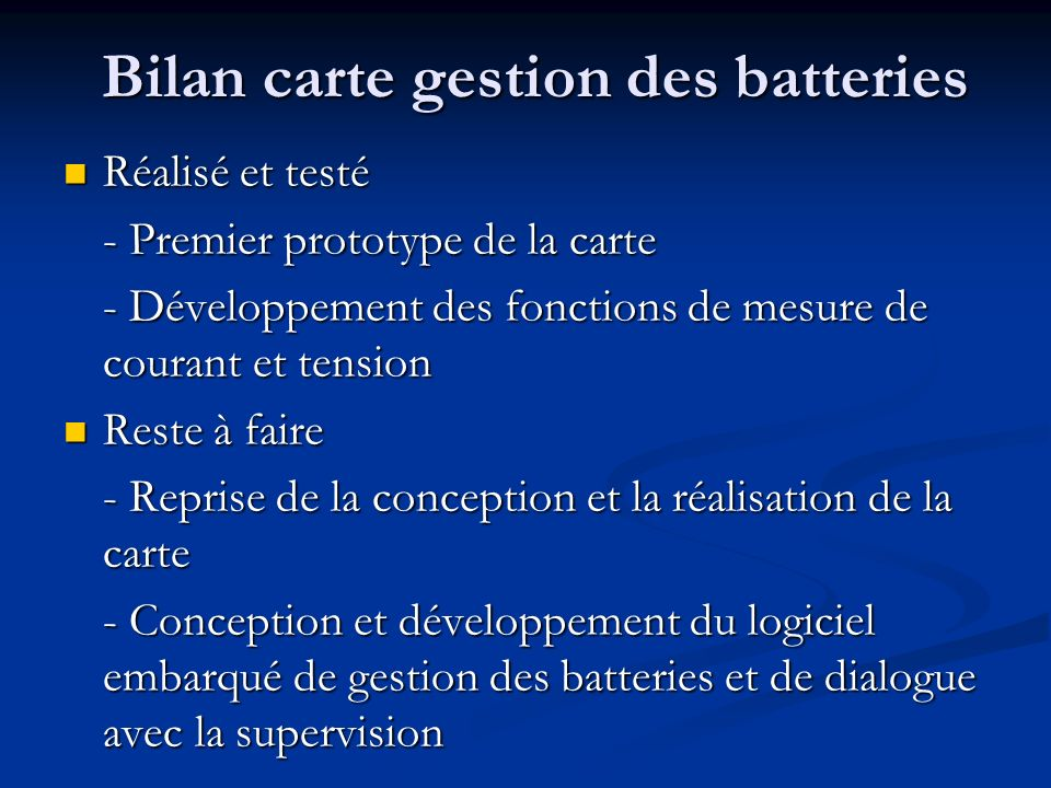 Bilan carte gestion des batteries