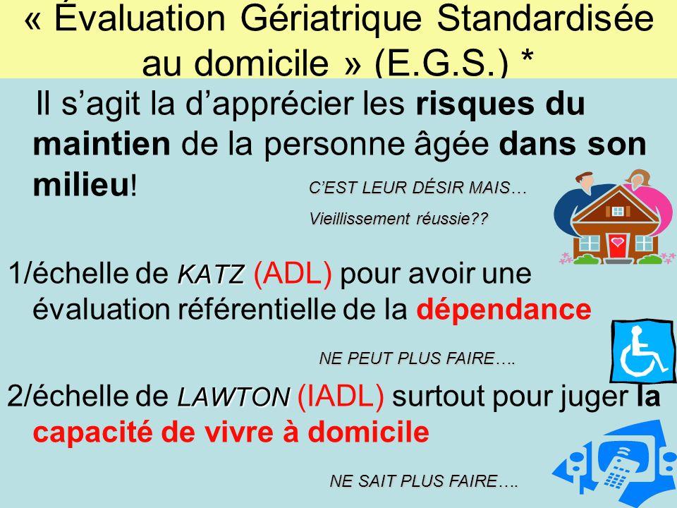 « Évaluation Gériatrique Standardisée au domicile » (E.G.S.) *