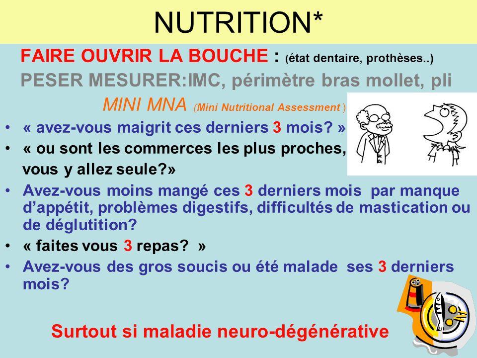 NUTRITION* FAIRE OUVRIR LA BOUCHE : (état dentaire, prothèses..)
