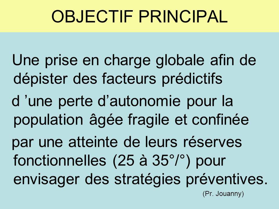 OBJECTIF PRINCIPAL Une prise en charge globale afin de dépister des facteurs prédictifs.